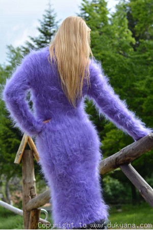 Cowlneck fuzzy mohair dress in purple