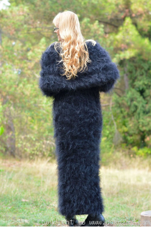 Hand knitted soft and silky huge cowlneck mohair dress in black
