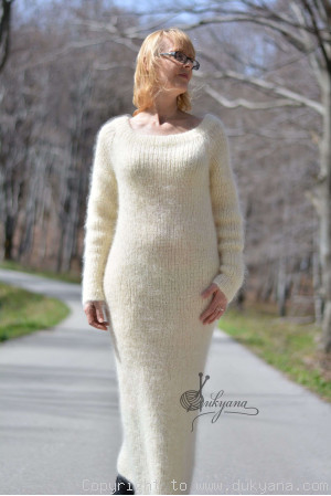 Fuzzy and soft boatneck off-shoulder mohair sweater dress made to order