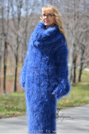 Hand knitted soft and silky huge cowlneck mohair dress in blue