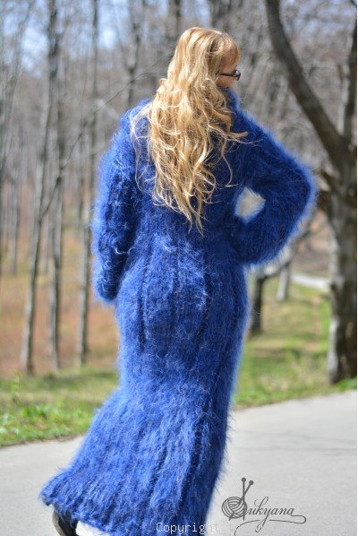 On request Hand knitted soft and silky huge cowlneck mohair dress in blue