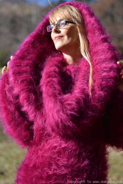 Huge cowlneck soft and fuzzy mohair dress in fuchsia