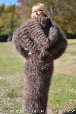 Soft and silky huge cowlneck mohair dress in brown mix