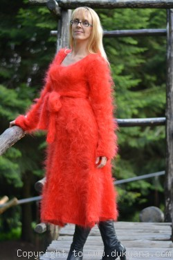 Handmade flared mohair dress in red