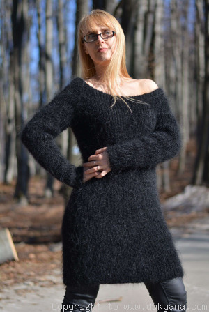 Off-shoulder mohair sweater tunic in black