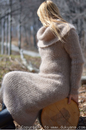 Fuzzy and soft cowlneck off-shoulder mohair dress in beige