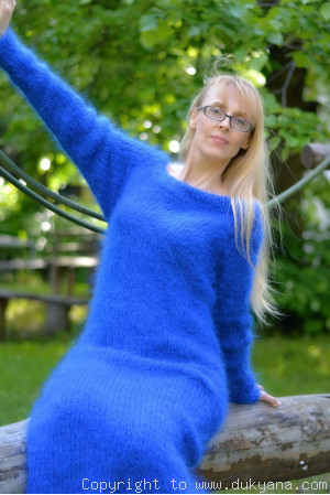 Fuzzy and soft boatneck off-shoulder mohair sweater dress in royal blue