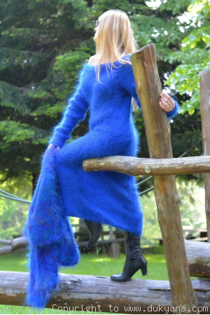 On request Fuzzy and soft boatneck off-shoulder mohair sweater dress in royal blue