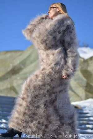 Hand knitted soft and silky huge cowlneck leopard mohair dress