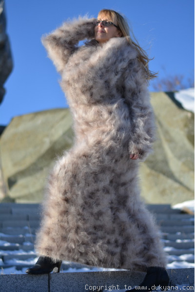Hand knitted soft and silky huge cowlneck animal print mohair dress