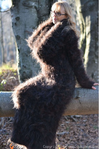 On request hand knitted soft and silky huge cowlneck mohair dress in brown mix