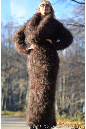 Hand knitted soft and silky huge cowlneck mohair dress in brown mix