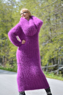 Hand knitted soft and silky huge cowlneck mohair dress in purple
