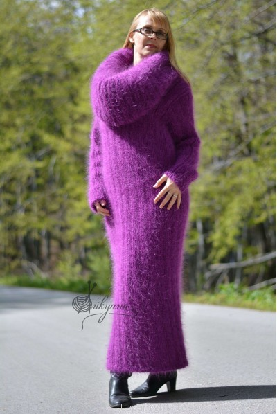 On request Hand knitted soft and silky huge cowlneck mohair dress in purple