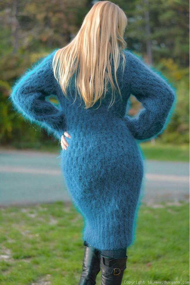 Soft And Warm Hand Knitted T Neck Mohair Dress In Teal D53