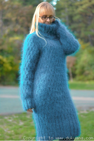 Soft and warm hand knitted T-neck mohair dress in teal