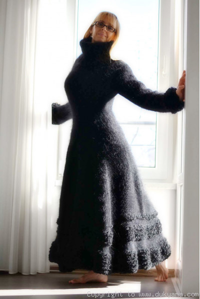 Flared mohair dress hand knitted in black