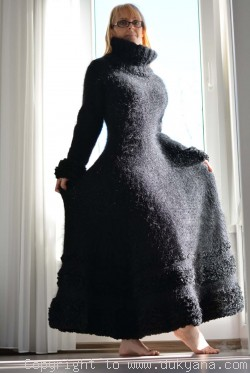 Flared mohair dress hand knitted