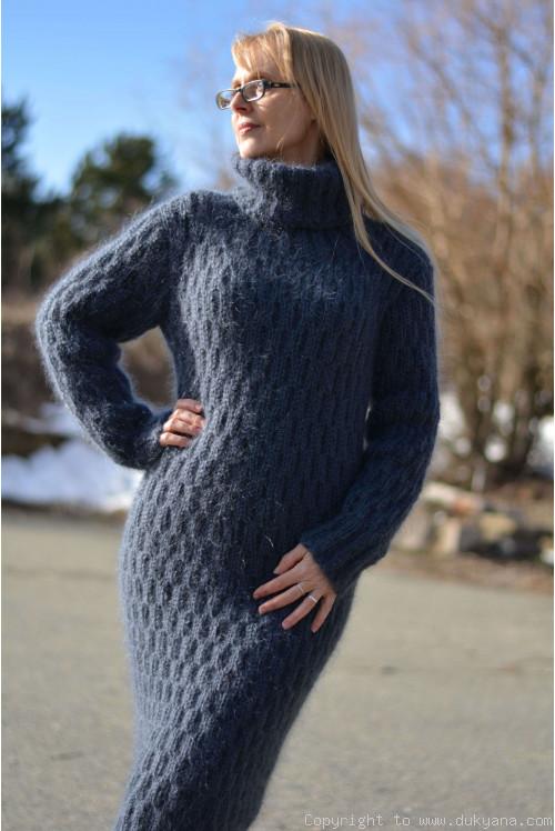 Mohair tube dress in steel gray