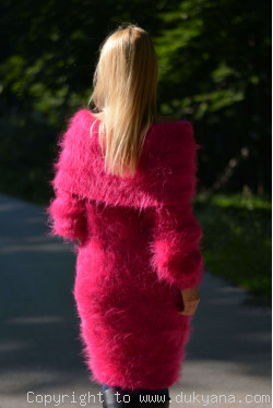 Gorgeous fuzzy cowlneck off-shoulder mohair dress in fuchsia