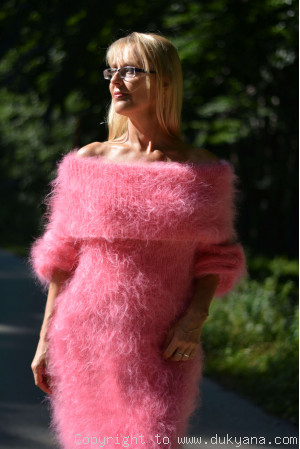 Fuzzy and soft cowlneck off-shoulder mohair dress in candy pink