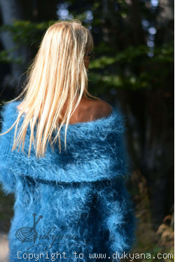 Off-shoulder mohair dress in teal