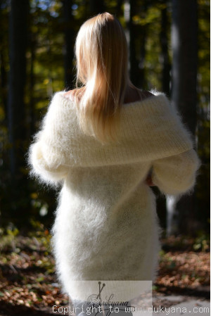 Handknit off-shoulder mohair dress in ivory