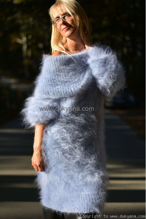 Off-shoulder mohair dress in light blue