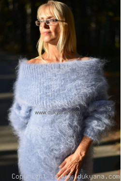 Off-shoulder mohair dress in light blue