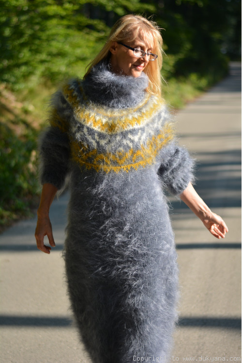Nordic design full body mohair dress in gray and mustard