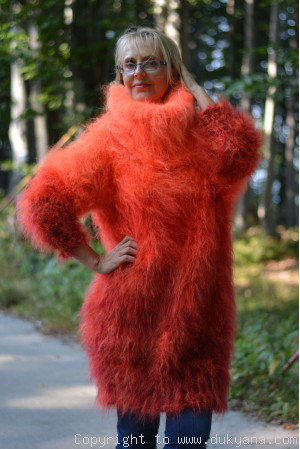 Rainbow chunky mohair dress in orange