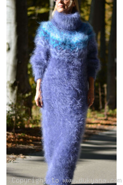 Nordic design full body mohair dress in denim blue