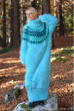 Nordic design full body mohair dress in aqua blue