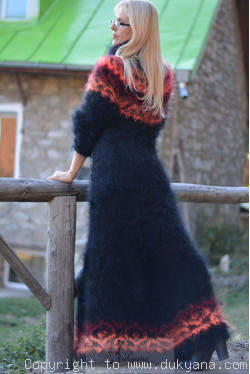 Nordic design full body mohair dress in black