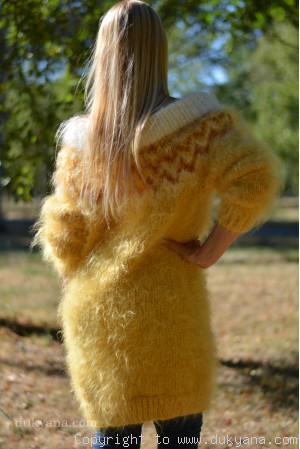 Handknit off-shoulder fuzzy mohair dress in golden yellow