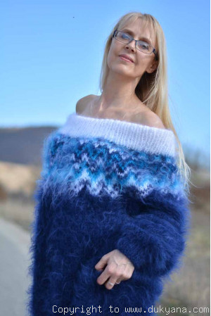 Handknit off-shoulder Fair isle mohair dress in navy