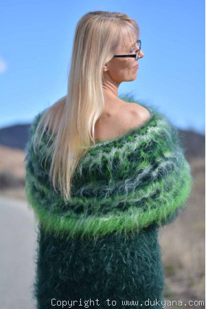 Handknit off-shoulder mohair dress in green