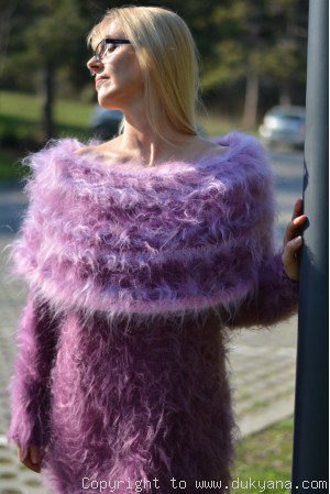 Handknit off-shoulder mohair dress in dusky purple and pink