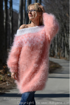 Handknit off-shoulder fuzzy mohair dress in peach