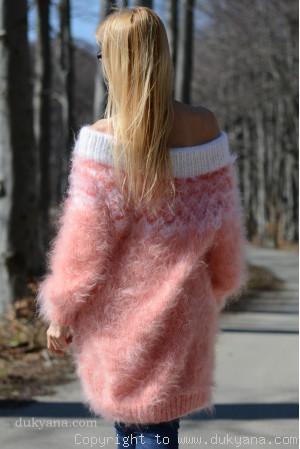 Handknit off-shoulder fuzzy mohair dress in peach