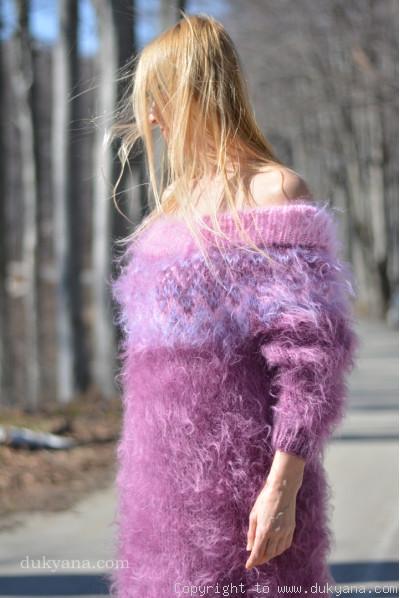Handknit off-shoulder fuzzy mohair dress in purple