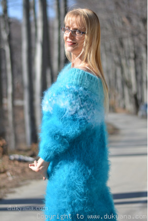 Handknit off-shoulder fuzzy mohair dress in turquoise