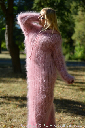 Hooded mohair dress in light pink One size