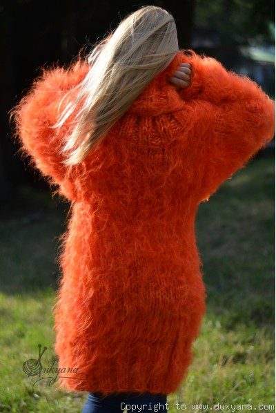 Hand knitted silky and chunky mohair huge Tneck sweater