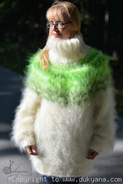 Hand knitted fuzzy Icelandic T-neck mohair sweater in white