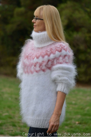 Hand knitted fuzzy Icelandic T-neck mohair sweater in snow white