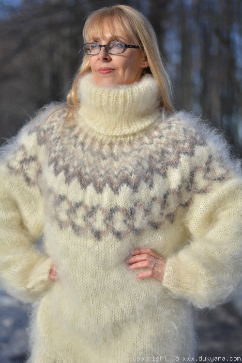 On request Hand knitted Icelandic T-neck mohair sweater