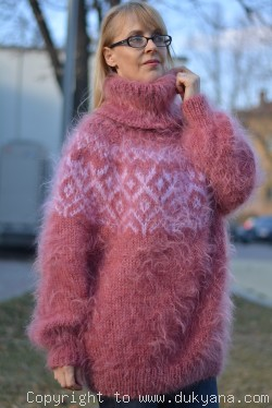 Hand knitted fuzzy Tneck Icelandic mohair sweater