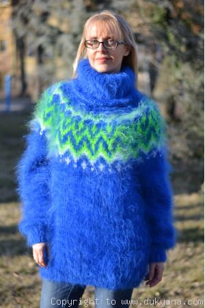Royal blue Icelandic mohair sweater