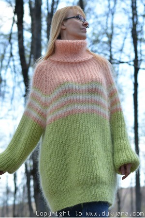 Hand knitted fuzzy striped T-neck mohair sweater in mint